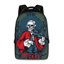 17-inch hip-hop oil painting skeleton pattern school backpack youth boys and girls laptop bag can store 15-inch computer