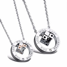 Our Love Will Last Forever Carved Word Necklace Magic Cube Jeweled Pendant Necklace Pair Couple Jewelry for Girlfriend Boyfriend(China)