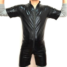 Buy Black Men Novelty PVC Leather Bodysuit Open Crotch Zipper Jumpsuit Mens Fetish Latex Clubwear Catsuit Short Sleeves Plus size