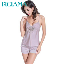 PIGIAMA Women Pajamas Sexy Pyjama Set Nightsuit Lace Silk Straps Bathrobe Women Sleepwear Shorts Pijamas Homewear(China)