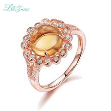 I&zuan S925 Silver Citrine Rings For Women Sun Flower 2.5ct Natural Gemstones Prong Setting Wedding Fine Jewelry(China)