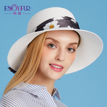 ENJOYFUR women sun hat for Summer sunscreen straw hat with flowers ribbon beach caps large brim women hat(China)