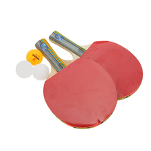 Table Tennis Set 2 Racket + 3 Ball + 1 Racket Pouch Long Handle Shake-hand Ping Pong Paddle Red/Blue(China)