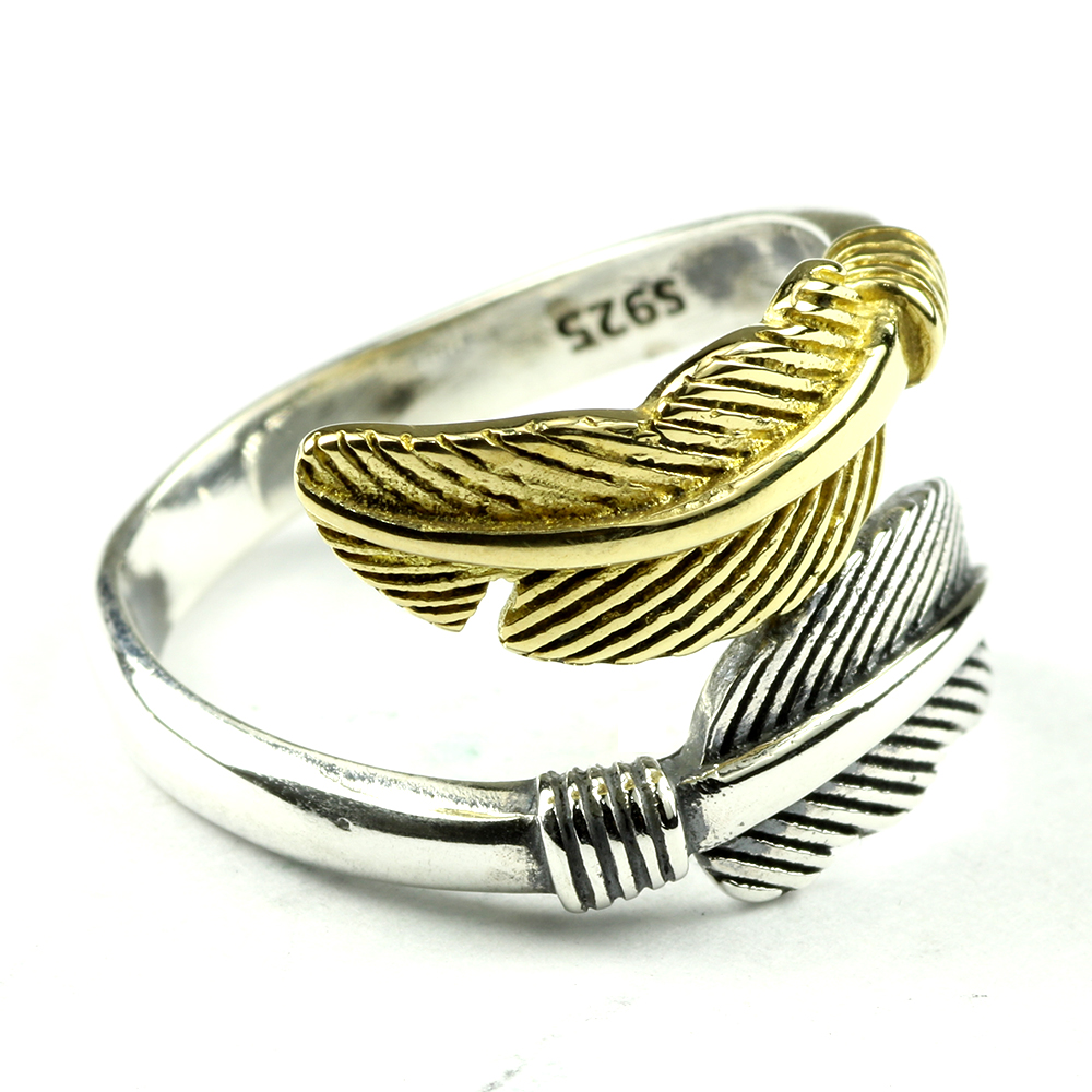 Golden and Silver Colors 925 Sterling Silver Feather Ring