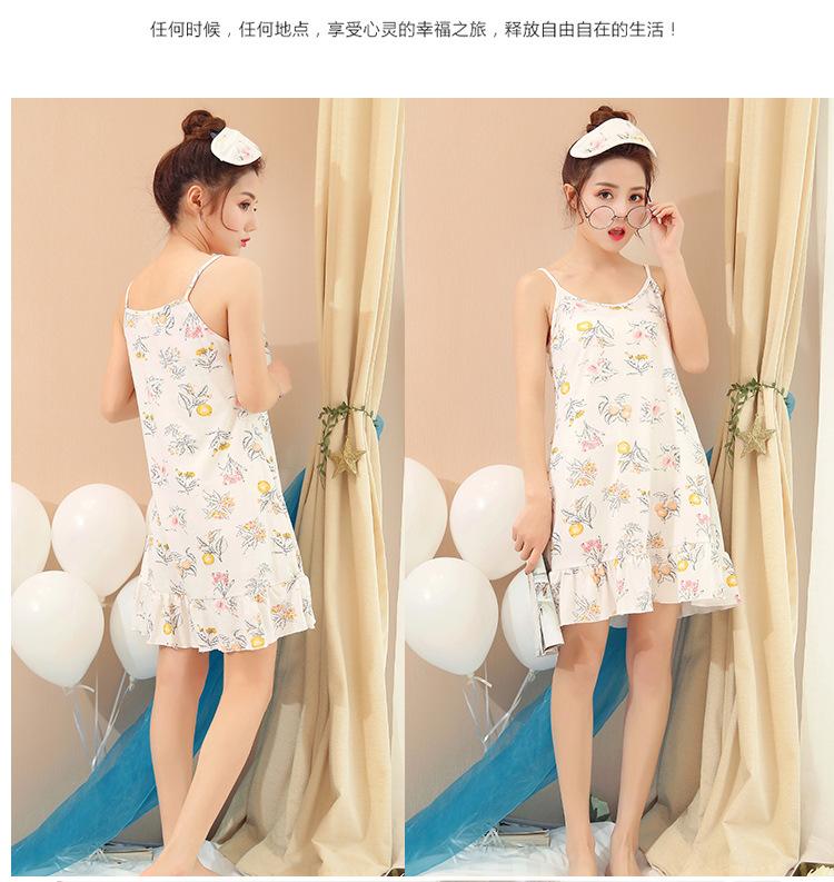 2019 Girls Suspenders Nightdress Female Summer Cotton Cute Korean ... 975339527