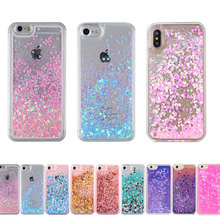 Hot Clear Liquid Glitter Sand Fluorescent Love Heart Bling Back Case Cover for iPhone 5 5s 6 6s Plus 4 4g 4s 7 Cell Phone Cases(China)