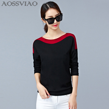 AOSSVIAO Casual Ladies Tops O-Neck T-Shirt Women 2017 Autumn Korean Sexy Slim Tshirt Womens Long Sleeve T Shirt Femme Black Red(China)