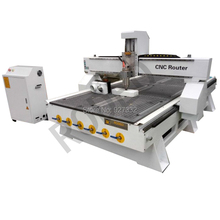 China manufacturer wood cnc router 1325 for door making with vaccum table and dust collector(China)