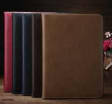 Faux Leather Case for iPad Air 2 real leather case cover for ipad 6 5 Colors Free shipping 100pcs/lot Free shipping(China)