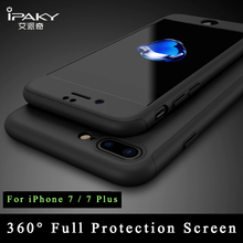 For iphone 7 case iPaky Brand coque For Apple iPhone 7 plus case +Glass Screen Protector PC 360 Full Body Cover For iphone7 case