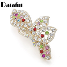 Dalaful Elegant Butterfly Alloy Hairpins For Women Lady Hair Ornament Crystal Jewelry Gift F146(China)
