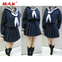 Customize 1/6 Girl Students Clothes School Uniforms Blue/White Color For 12'' Female Action Figure(China)