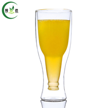 300ml High Quality Heat-Resisting Double-wall Glass Tea Cup With Beer Shaped Creative Beer Cup White Tea Cup Da Hong Pao Cup(China)