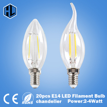 free shipping 20pcs 220V 2W 4W E14 LED chandelier candle Filament Bulb clear grass Edison light bulb 360 Degree led ceiling bulb