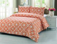Wholesale of 2017NEW 100% cotton bedding set customized orange 3pc duvet cover pillowcase quilt cover Full/Queen bed cover