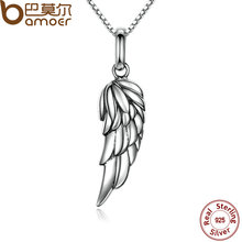 BAMOER New Authentic 925 Sterling Silver Feather Wing Pendant Necklace High Quality Necklace Fine Jewelry SCN026(China)