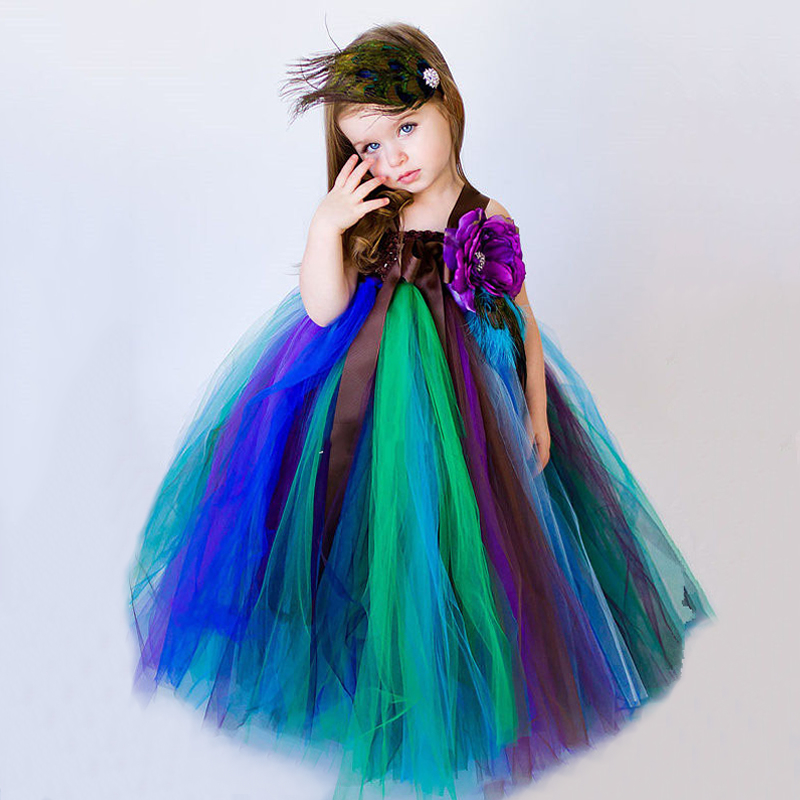 2018 Top quality Hot Flower Girl Dresses Multicolor and Light Purple Flower 2-12Year Draped Ballet Ball Gown Kids Party<br>