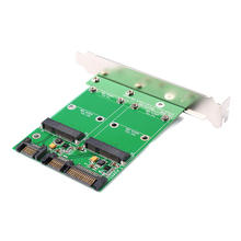 New mSATA SSD Dual Port To SATA II Adapter Card With PCI-e Bracket #79886(China)