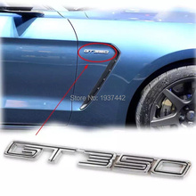 new l high quality 3d Black/Chrome F*rd Mustang GT 350 Car Rear Boot Trunk Side Emblem Sticker for Shelby GT350 Auto Badge Decal