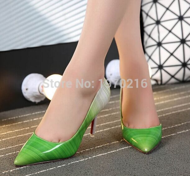 REAL PHOTO Gradient Color 90mm High Heels Pumps shoes,Big Size43 Genuine Patent Leather Women Sexy Half-dorsay silhouette heels<br><br>Aliexpress