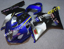 Hot Sales,For Suzuki Fairing 2004 2005 GSX-R600 GSXR 750 600 04 05 GSXR600 K4 Blue Black Gray Fairing Kit (Injection molding)
