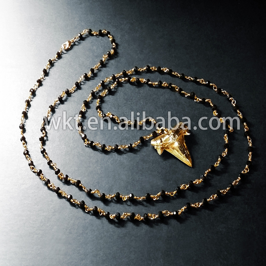New Natural rosary beads shark tooth necklace, full gold dipped shark tooth necklace 18inch long black beads chain necklace