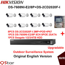 Hikvision Original English Outdoor Security Camera System DS-2CD2020F-I 2MP IP Camera POE+6MP Recording POE NVR DS-7608NI-E2/8P
