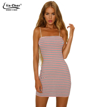 Buy New women striped spaghetti strap mini dresses strapless sheath fashion summer sexy evening party chic elegant lady dress 9129 for $16.90 in AliExpress store