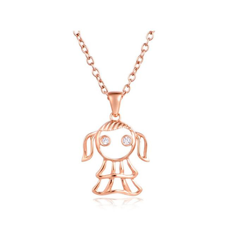2018 18K Gold New Fashion Girls Kids Xmas Gift Jewelry Virgo Little Girl Pendant Without Short Chain Necklace Drop Shipping