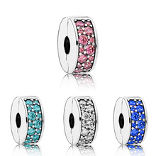 free shipping 1pc silver white pink red lake blue crystal round clip safety bead Fits European Pandora Charm Bracelets M067