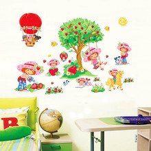 Korea wall stickers decorative creative strawberry girl cartoon cute stickers(China)
