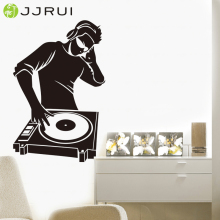 JJRUI Wall Stickers Vinyl Decal ELECTRONIC MUSIC HEADPHONES DJ cool stickers boys bedroom decal wall sticker(China)