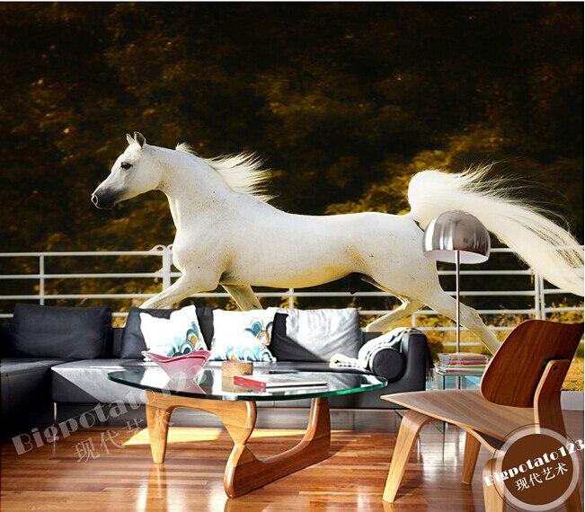 Custom 3D wallpaper, running elegant white wild horse papel de parede, living room sofa TV bedroom wall paper<br>