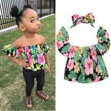 2017 summer foreign trade new girls strapless floral shirt T shirt shirt + bow head ornaments(China)