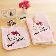 Hello kitty Microwave oven Gloves + Insulation Pads Cotton material Kitchen Cooking tools Thicken Non-slip Sweet heart Gift EA