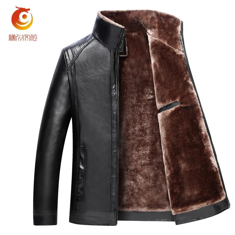 Leather Jackets Men Winter Jackets Men Clothes Long Wool & Blends Faux Fur Thick Quilted Parkas Men Warm Coats Big 4XL