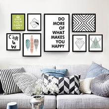 No Frame Inspiring Quotes Art Painting Nordic Decorative Poster Wall Canvas Drawing Mural Paper Ornaments for Living Room Office