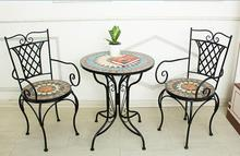 Mosaic courtyard outdoor cafe outdoor garden chairs and tables
