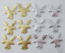 PANNGL Gold/Silver christmas appliques Deer 100pcs decorative craft felt padded accessories