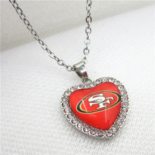 10pcs/lot USA San Francisco 49ers Heart Necklace Jewelry With Chains Necklace Pendant DIY Jewelry Football Sports Charms(China)