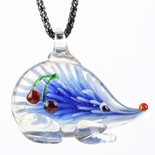 Bonsny Hedgehog  glaze Glass Murano Necklace Long Chain Pendant 2016 Fashion Jewelry For Women  Animal Charm Collar Accessories