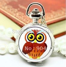 (6019S) 12pcs/lot free shipping Victorian Style Enamel owl MIRROR Pocket Watch necklaces(China)