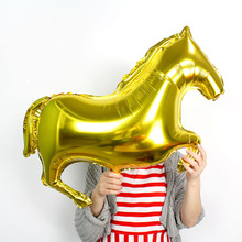 1piece/lot big gold horse aluminum foil balloons for birthday party decoration animal balloon toys children inflatable helium