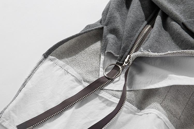 Front Long Zipper Back Ribbon Hoodies 9