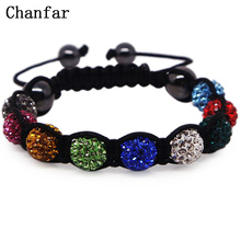 19 colors Crystal Jewelry Bracelet For Women New Crystal Bracelets 10mm crystal Disco Ball Bead Crystal Bracelet(China)