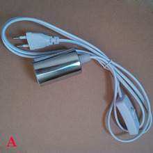 1.8m Suspension E27 lamp holder, The power cord length of 1.8m, plug and switch, metal luster E27 base shell(China)