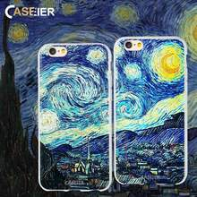 CASEIER Phone Case For iPhone 6 6s Soft TPU Cover Van Gogh Starry Night Cases For iPhone 5s 7 8 Plus X 3D Relief Accessories(China)