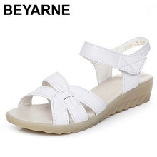 BEYARNE new genuine leather sandals wedge heels women sandals summer shoes ladies women's shoes woman shoes(China)