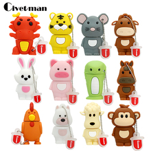 USB Flash Drive Chinese Zodiac Animal Snake Chicken Rabbit Tiger Monkey 8GB 16GB 32GB 64GB USB Memory Stick Pendrive(China)