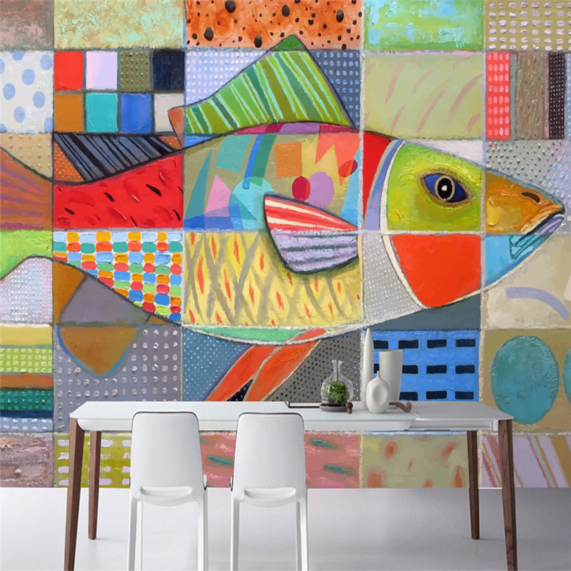 Custom Photo Wallpapers 3D Stereoscopic Fish Murals Hand Painted Color Walls for Living Room Background Wall Papers Home Decor <br>
